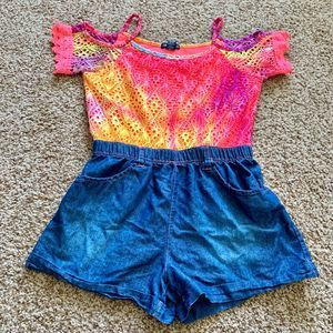 Limited Too XL pink blue romper